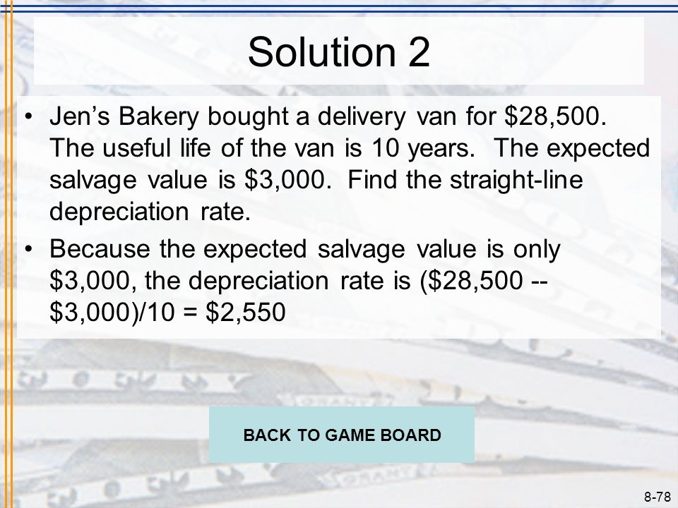 8-77 Problem 2 Jens Bakery bought a delivery van for $28,500. The useful life of the van is 10 years. The expected salvage value is $3,000. Find the s