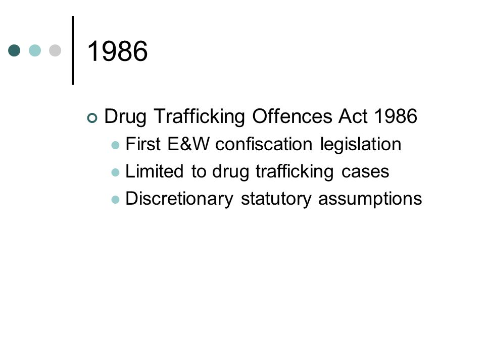 2002 Proceeds of Crime Act 2002 Creation of Assets Recovery Agency Civil recovery proceedings in High Court Taxation of suspected criminal gains Extended cash forfeiture scheme Prosecution appeals on confiscation issues Mandatory statutory assumptions if criminal lifestyle Strengthened money laundering offences