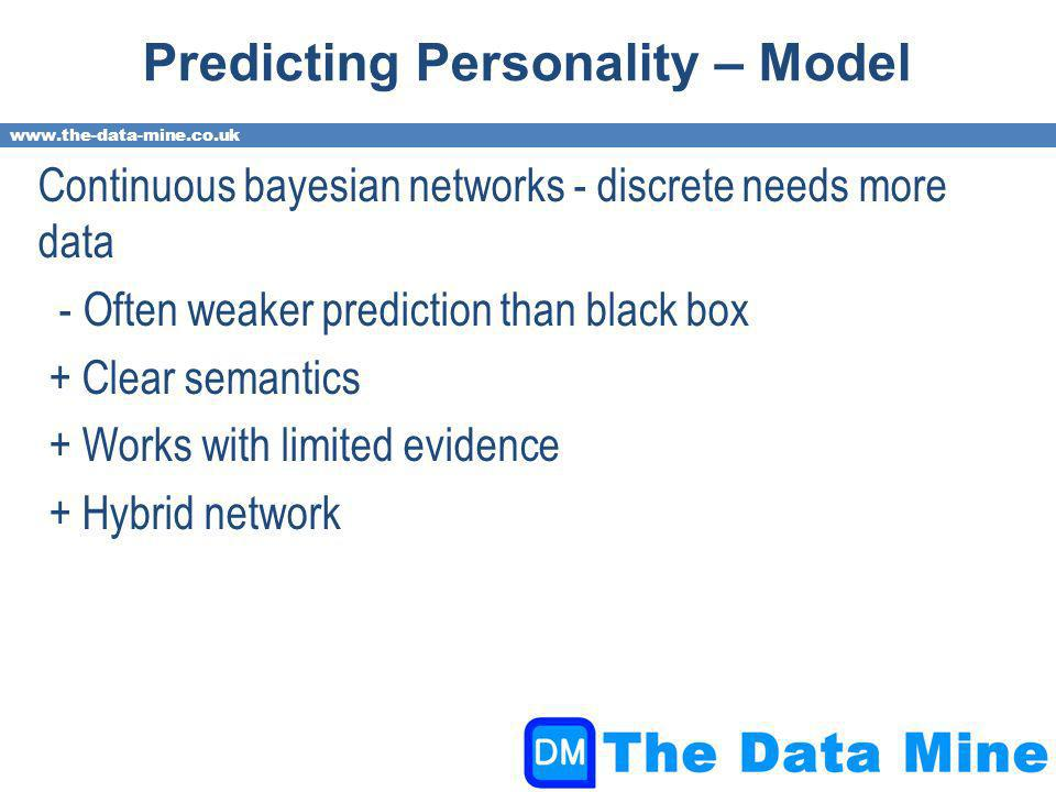 www.the-data-mine.co.uk Predicting Personality – Model Continuous bayesian networks - discrete needs more data - Often weaker prediction than black box + Clear semantics + Works with limited evidence + Hybrid network