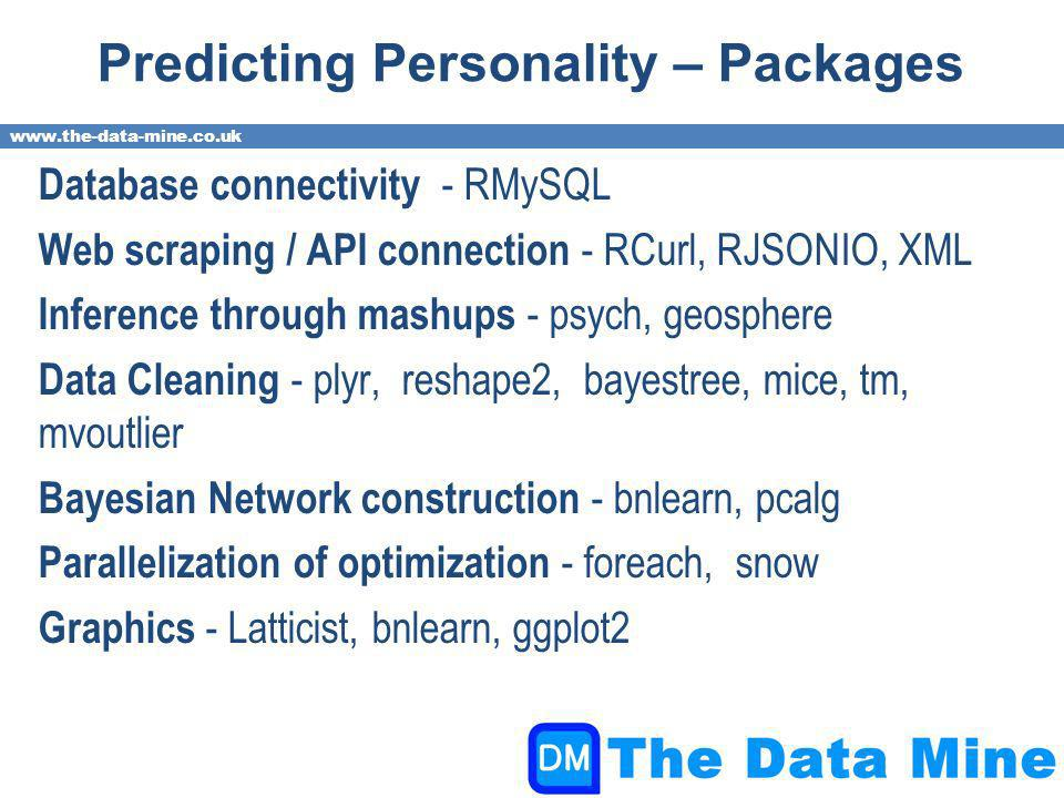www.the-data-mine.co.uk Predicting Personality – Packages Database connectivity - RMySQL Web scraping / API connection - RCurl, RJSONIO, XML Inference through mashups - psych, geosphere Data Cleaning - plyr, reshape2, bayestree, mice, tm, mvoutlier Bayesian Network construction - bnlearn, pcalg Parallelization of optimization - foreach, snow Graphics - Latticist, bnlearn, ggplot2