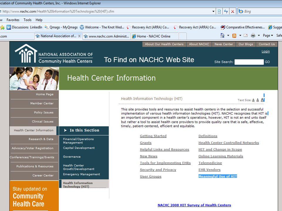 5 To Find on NACHC Web Site