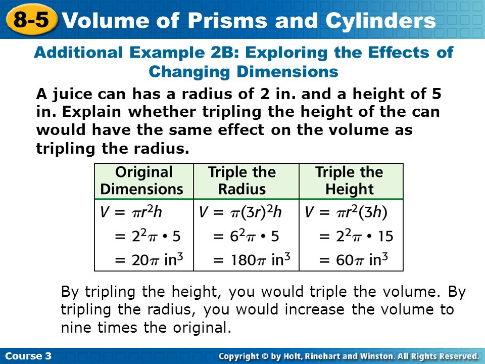 A juice can has a radius of 2 in. and a height of 5 in. Explain whether tripling the height of the can would have the same effect on the volume as tri
