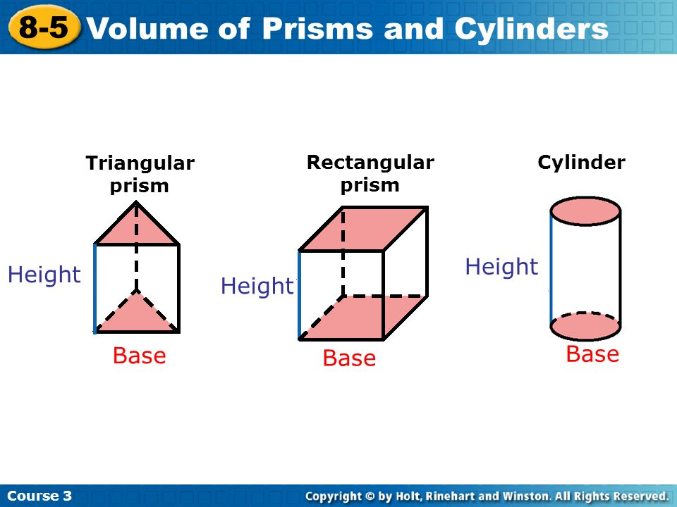 Course 3 8-5 Volume of Prisms and Cylinders Height Triangular prism Rectangular prism Cylinder Base Height Base Height Base