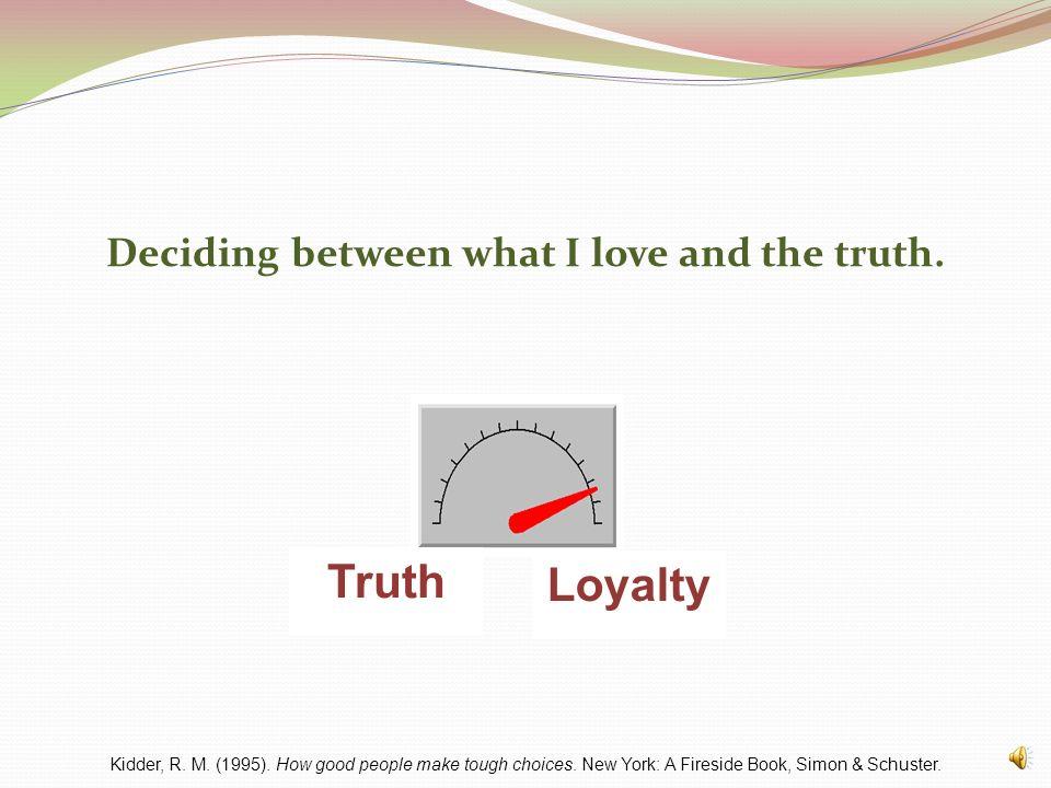 The Eight Dials of Ethical Decision Making Truth vs. LoyaltyJustice vs. MercySelf vs. CommunityShort Term vs. Long TermPolite vs. AuthenticFair vs. Eq
