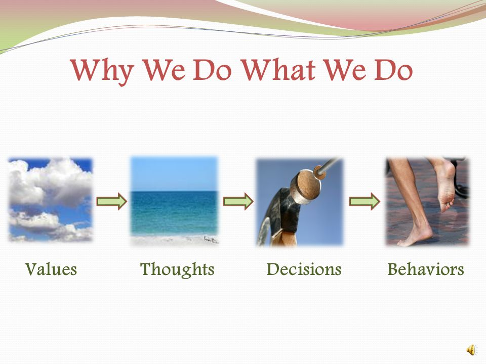 Why We Do What We Do ValuesThoughtsDecisionsBehaviors