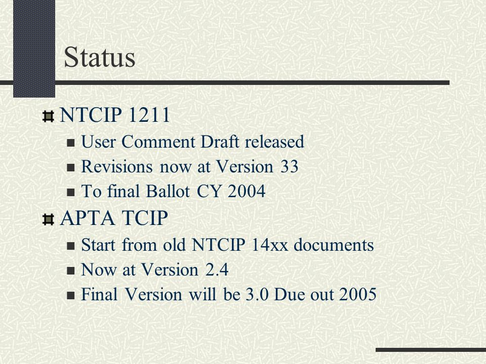Status NTCIP 1211 User Comment Draft released Revisions now at Version 33 To final Ballot CY 2004 APTA TCIP Start from old NTCIP 14xx documents Now at