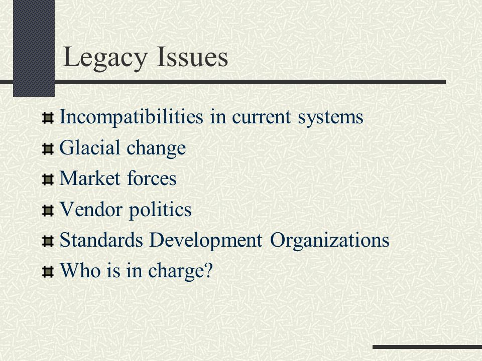 Legacy Issues Incompatibilities in current systems Glacial change Market forces Vendor politics Standards Development Organizations Who is in charge?