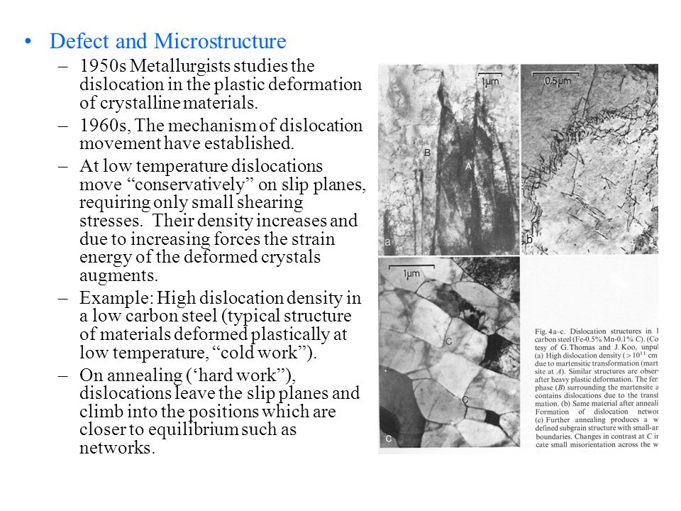 Defect and Microstructure –1950s Metallurgists studies the dislocation in the plastic deformation of crystalline materials. –1960s, The mechanism of d