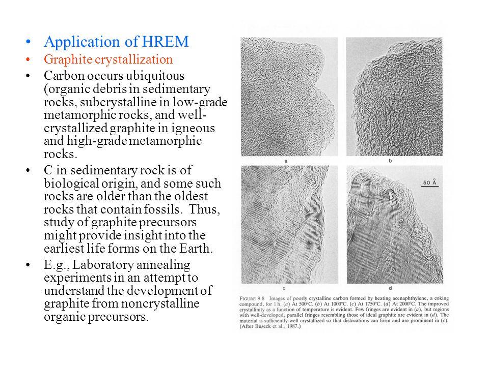 Application of HREM Graphite crystallization Carbon occurs ubiquitous (organic debris in sedimentary rocks, subcrystalline in low-grade metamorphic ro