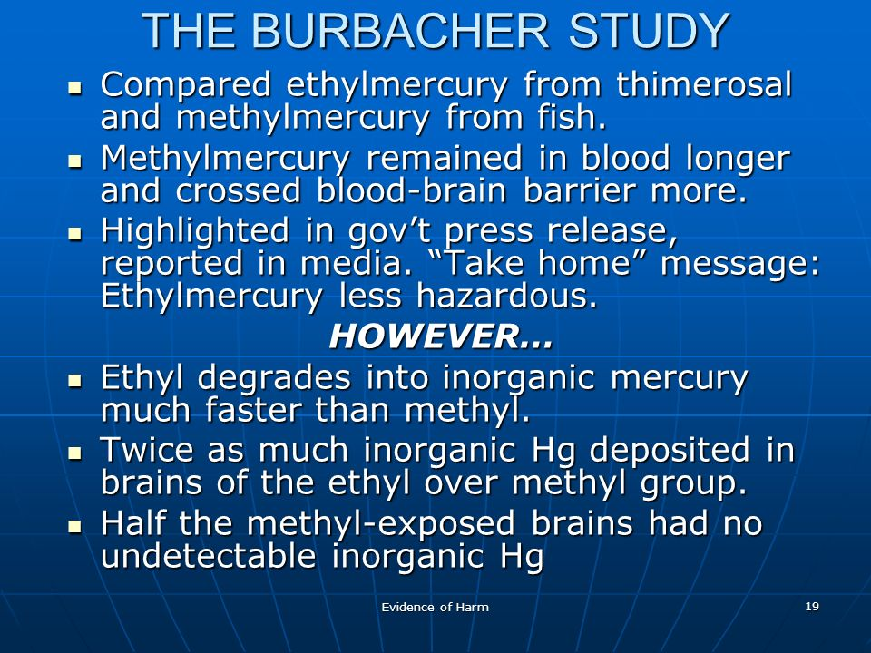 Evidence of Harm 19 THE BURBACHER STUDY Compared ethylmercury from thimerosal and methylmercury from fish.