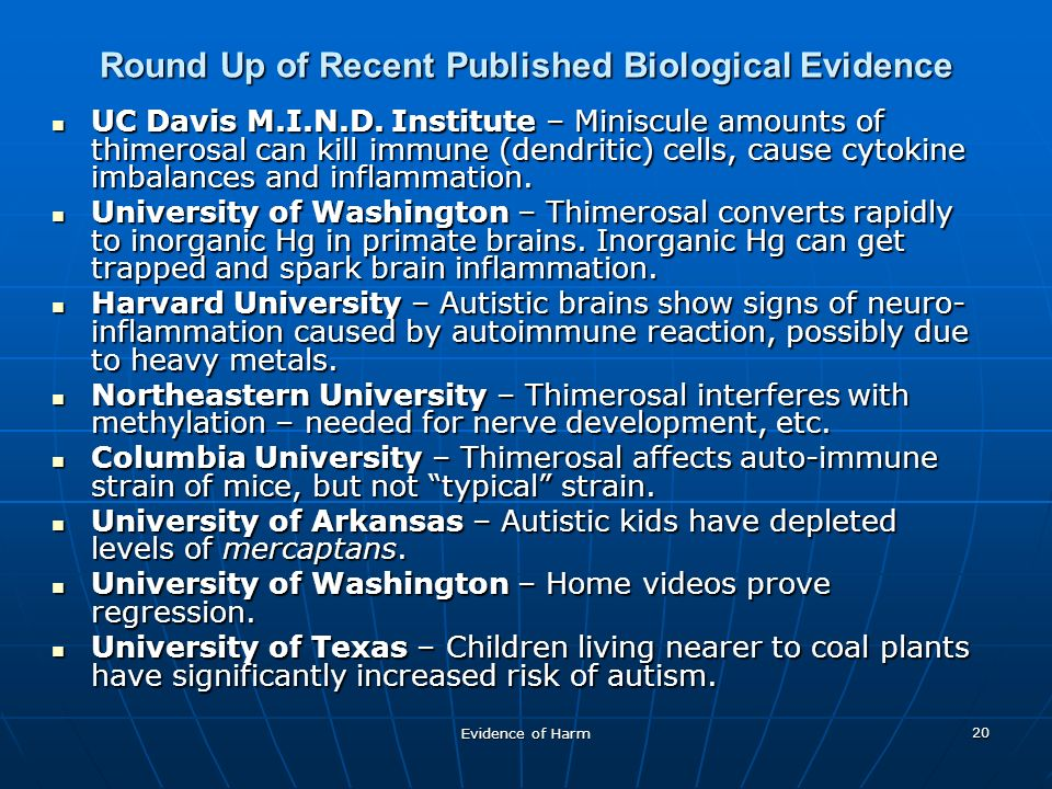Evidence of Harm 20 Round Up of Recent Published Biological Evidence UC Davis M.I.N.D.