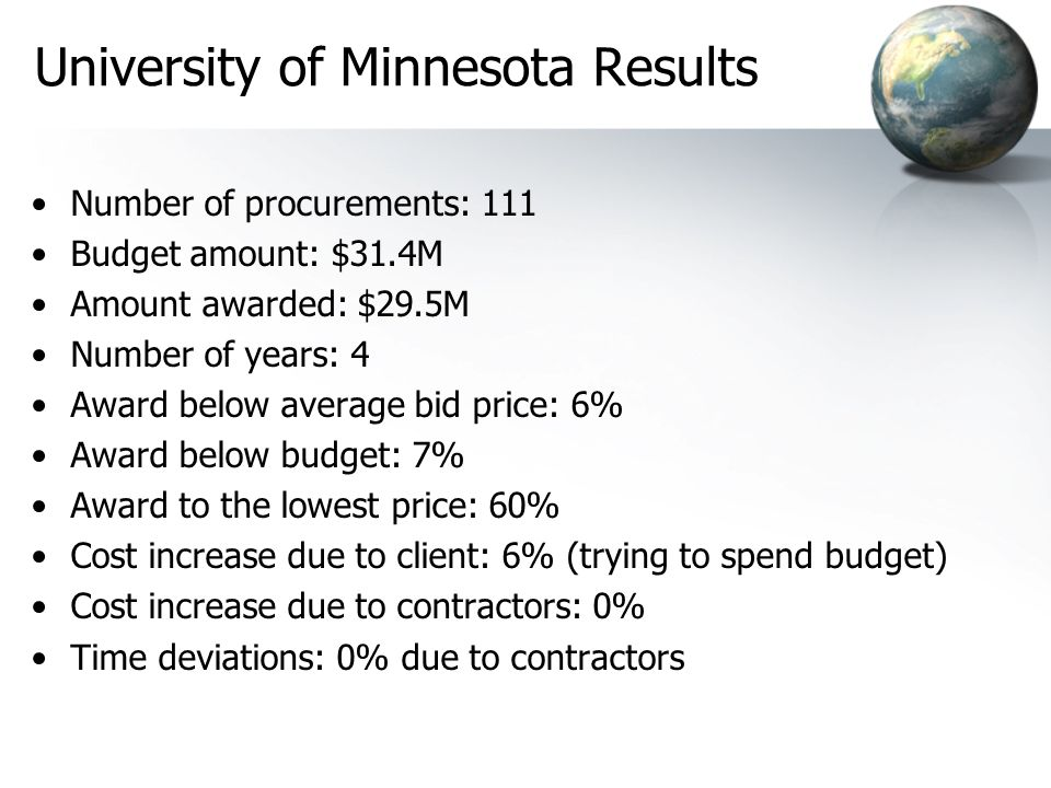 University of Minnesota Results Number of procurements: 111 Budget amount: $31.4M Amount awarded: $29.5M Number of years: 4 Award below average bid price: 6% Award below budget: 7% Award to the lowest price: 60% Cost increase due to client: 6% (trying to spend budget) Cost increase due to contractors: 0% Time deviations: 0% due to contractors