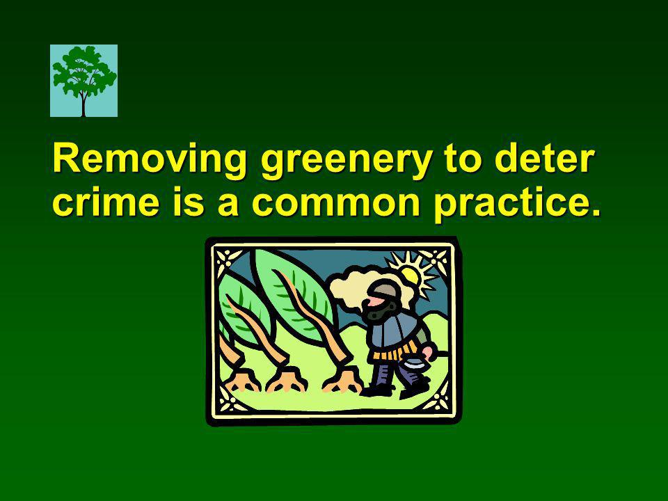 Removing greenery to deter crime is a common practice.