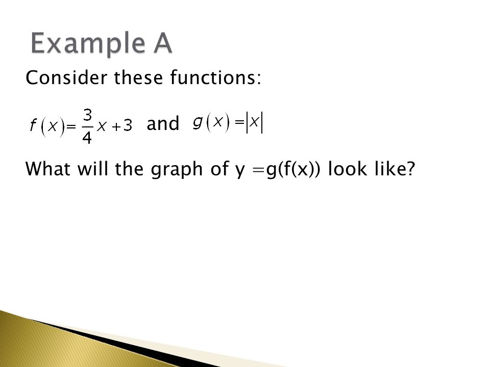 Consider these functions: and What will the graph of y =g(f(x)) look like?