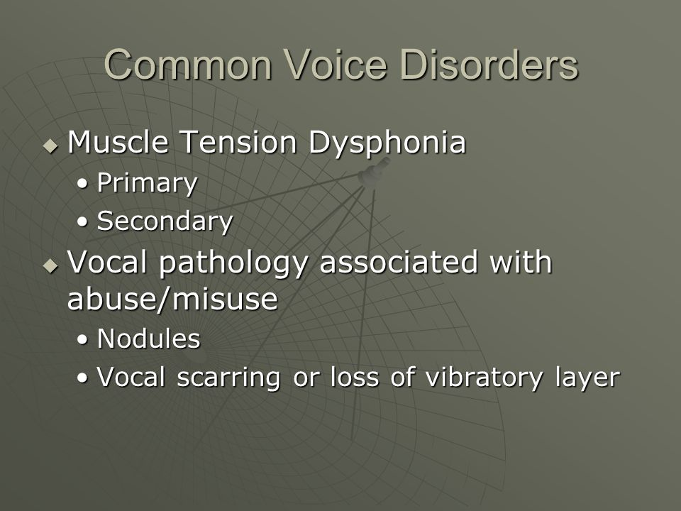 Primary Muscle Tension Dysphonia a posterior glottic chink caused by simultaneous activation of vocal fold closers and openers a posterior glottic chink caused by simultaneous activation of vocal fold closers and openers Can be normal in females Can be normal in females