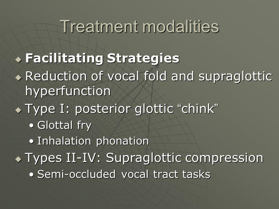 Treatment modalities Facilitating Strategies Facilitating Strategies Reduction of vocal fold and supraglottic hyperfunction Reduction of vocal fold an