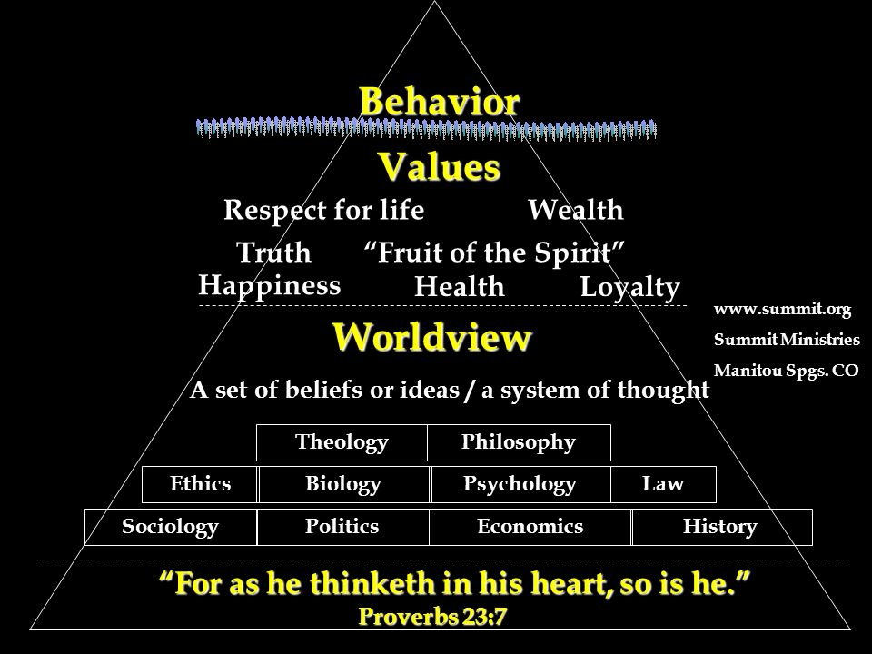 Values Values Respect for lifeWealth TruthFruit of the Spirit Happiness HealthLoyalty Worldview A set of beliefs or ideas / a system of thought Ethics