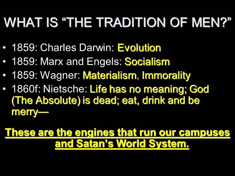 WHAT IS THE TRADITION OF MEN? Evolution1859: Charles Darwin: Evolution Socialism1859: Marx and Engels: Socialism MaterialismImmorality1859: Wagner: Ma