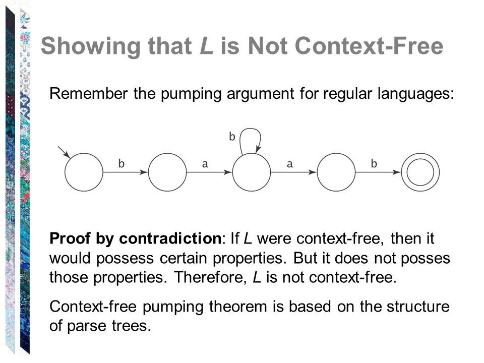 Showing that L is Not Context-Free Remember the pumping argument for regular languages: Proof by contradiction: If L were context-free, then it would