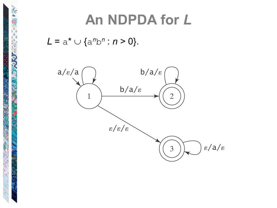 An NDPDA for L L = a * { a n b n : n > 0}.