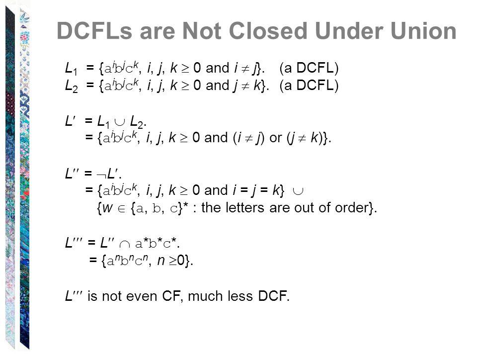 DCFLs are Not Closed Under Union L 1 = { a i b j c k, i, j, k 0 and i j}.(a DCFL) L 2 = { a i b j c k, i, j, k 0 and j k}.(a DCFL) L = L 1 L 2. = { a