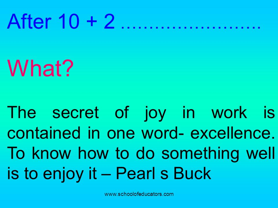 After 10 + 2 ……………………. What? The secret of joy in work is contained in one word- excellence. To know how to do something well is to enjoy it – Pearl s