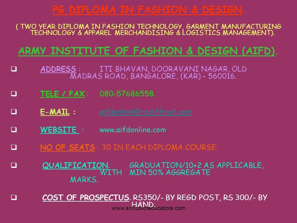 PG DIPLOMA IN FASHION & DESIGN. ( TWO YEAR DIPLOMA IN FASHION TECHNOLOGY, GARMENT MANUFACTURING TECHNOLOGY & APPAREL MERCHANDISING & LOGISTICS MANAGEM