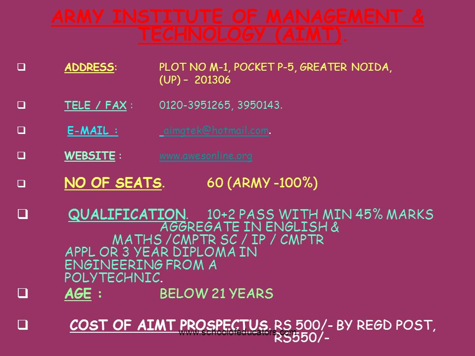 ARMY INSTITUTE OF MANAGEMENT & TECHNOLOGY (AIMT). ADDRESS:PLOT NO M-1, POCKET P-5, GREATER NOIDA, (UP) – 201306 TELE / FAX : 0120-3951265, 3950143. E-