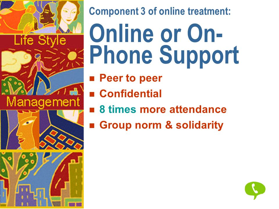 Component 3 of online treatment: Online or On- Phone Support n Peer to peer n Confidential n 8 times more attendance n Group norm & solidarity