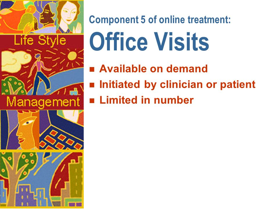 Component 5 of online treatment: Office Visits n Available on demand n Initiated by clinician or patient n Limited in number