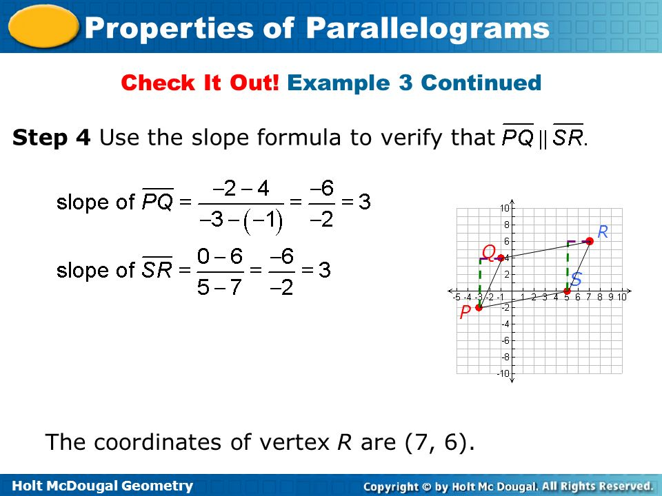 Holt McDougal Geometry Properties of Parallelograms Check It Out! Example 3 Continued The coordinates of vertex R are (7, 6). Step 4 Use the slope for