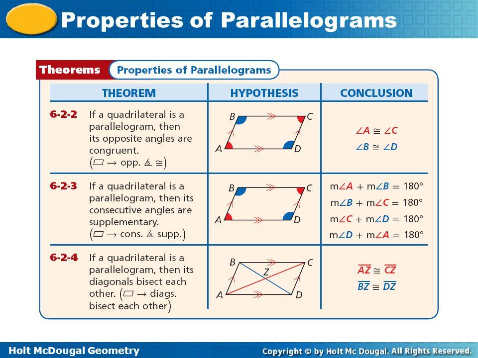 Holt McDougal Geometry Properties of Parallelograms