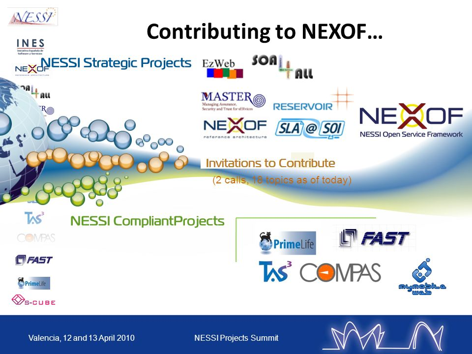 Contributing to NEXOF… Valencia, 12 and 13 April 2010NESSI Projects Summit (2 calls, 18 topics as of today)