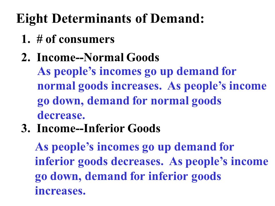 Eight Determinants of Demand: 1. # of consumers 2. Income--Normal Goods 3. Income--Inferior Goods As peoples incomes go up demand for normal goods inc