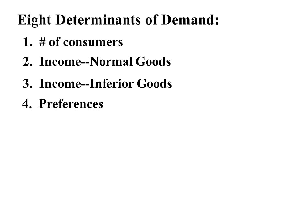 Eight Determinants of Demand: 1. # of consumers 2. Income--Normal Goods 3. Income--Inferior Goods 4. Preferences