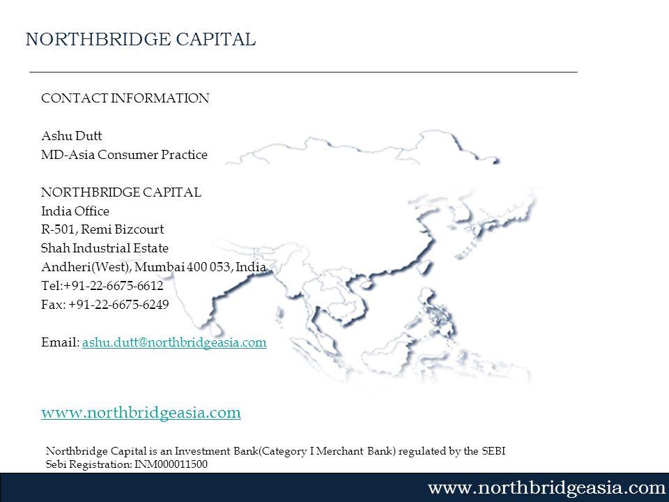 Northbridge Capital is an Investment Bank(Category I Merchant Bank) regulated by the SEBI Sebi Registration: INM000011500 Gvmk,bj. CONTACT INFORMATION