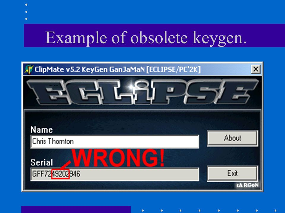 Example of obsolete keygen.