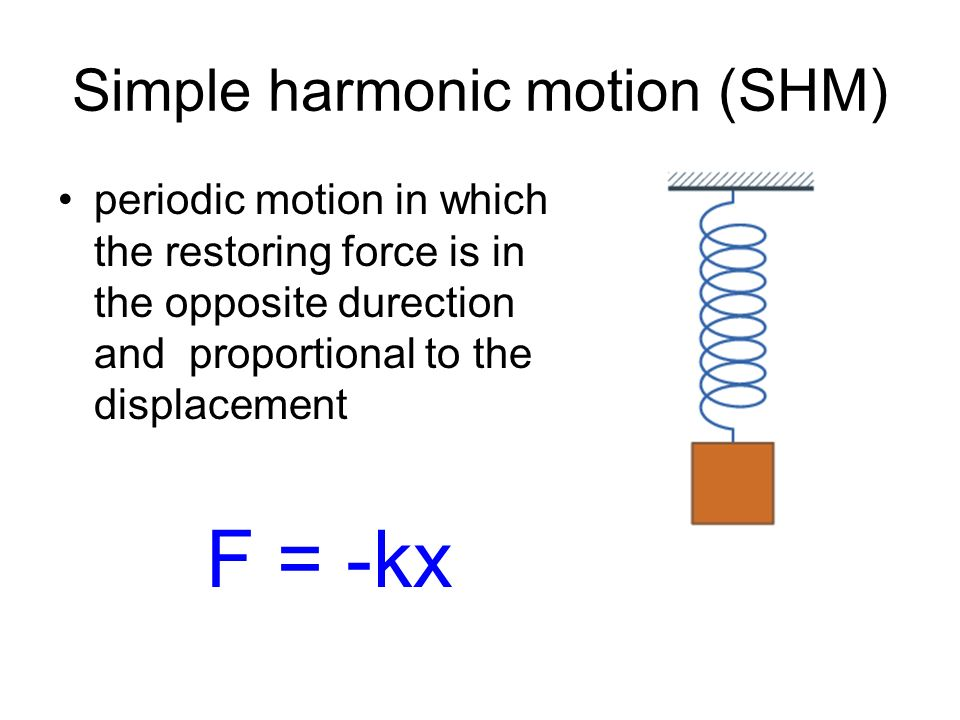 Simple harmonic motion (SHM) periodic motion in which the restoring force is in the opposite durection and proportional to the displacement F = -kx