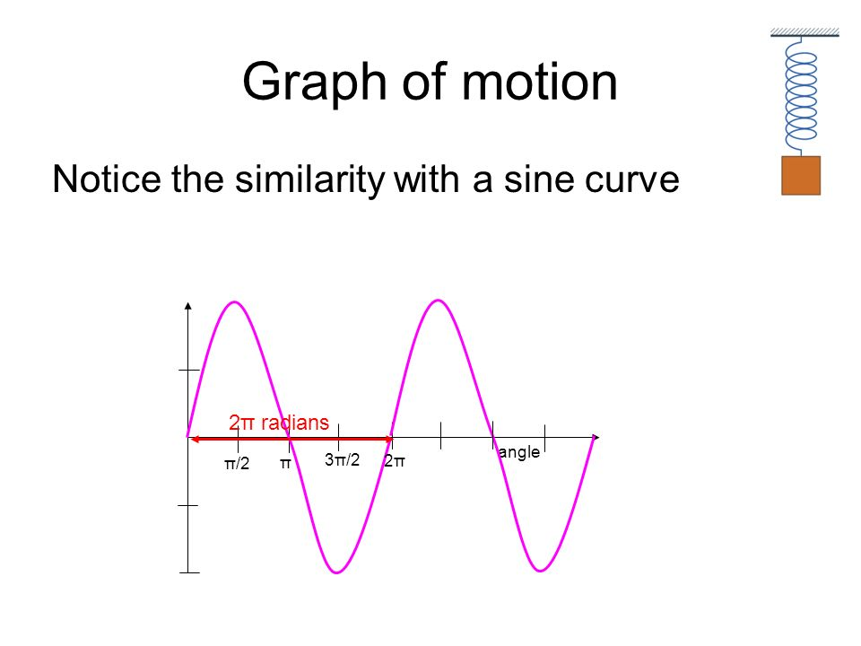 Graph of motion Notice the similarity with a sine curve angle 2π radians π/2 π 3π/2 2π