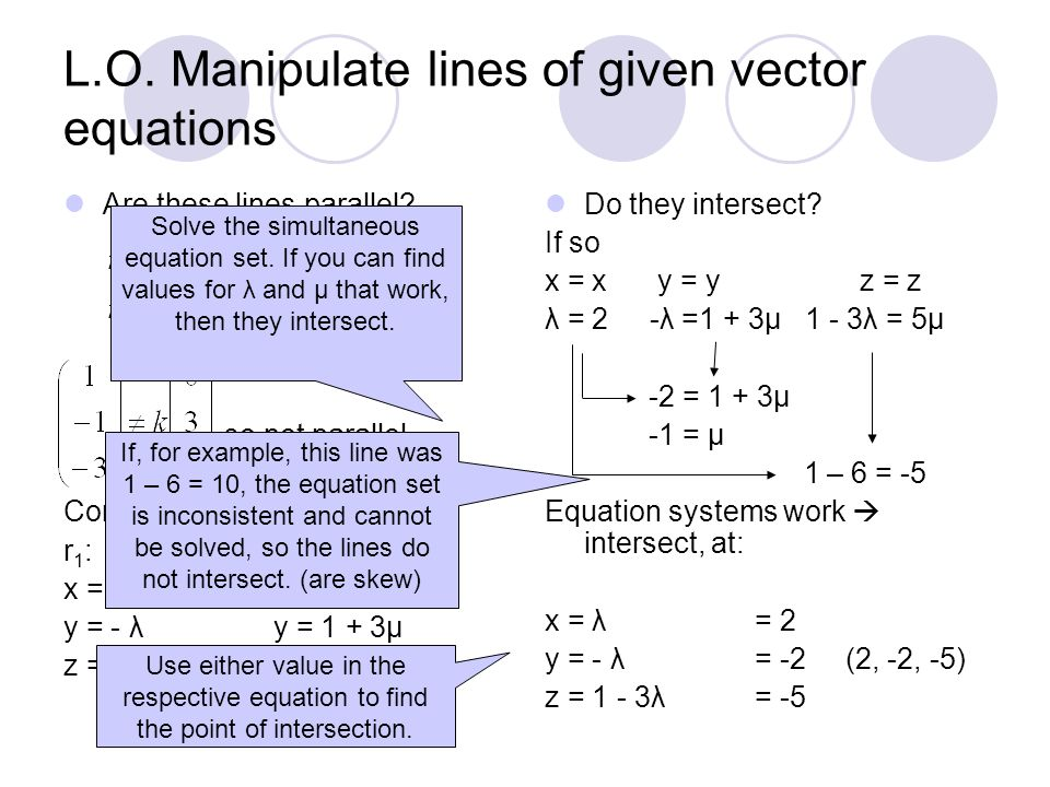 L.O. Manipulate lines of given vector equations Are these lines parallel.