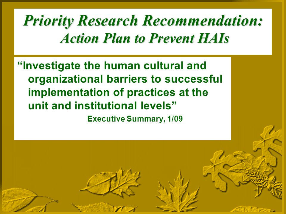 Priority Research Recommendation: Action Plan to Prevent HAIs Investigate the human cultural and organizational barriers to successful implementation of practices at the unit and institutional levels Executive Summary, 1/09
