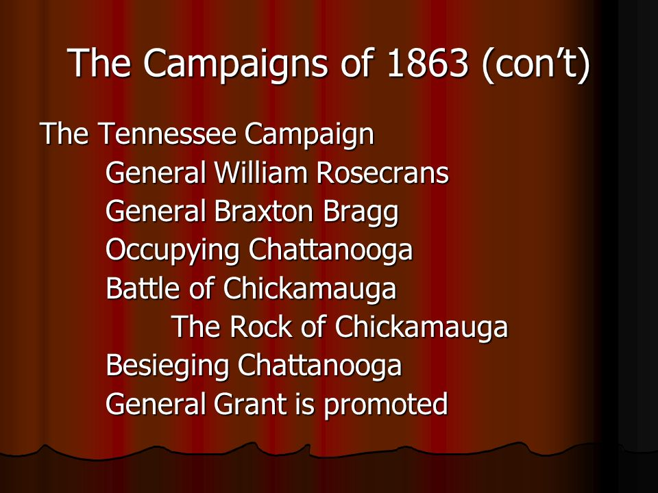The Campaigns of 1863 (cont) The Tennessee Campaign General William Rosecrans General Braxton Bragg Occupying Chattanooga Battle of Chickamauga The Rock of Chickamauga Besieging Chattanooga General Grant is promoted