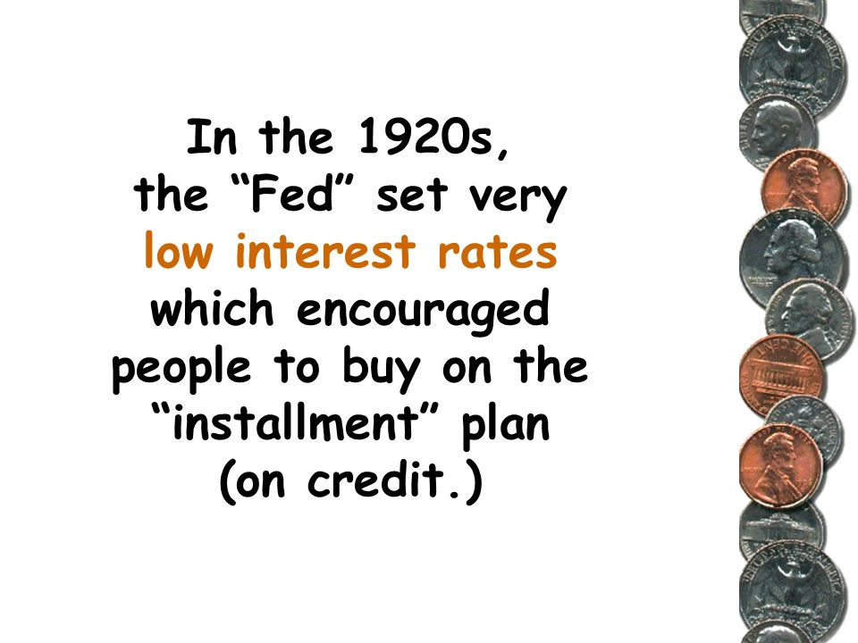 The Federal Reserve was suppose to serve as a protective watchdog of the nations economy. It had the power to set the interest rate for loans issued b
