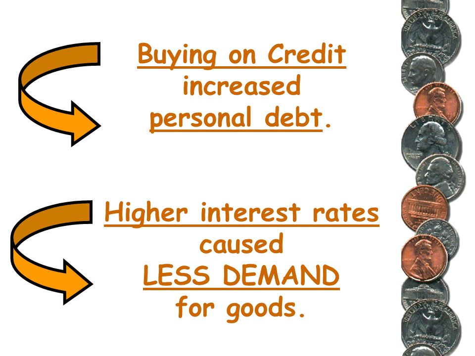 So,to summarize, banking policies which offered buying on credit first with lower interest rates, then raising those rates, caused a dangerous situati