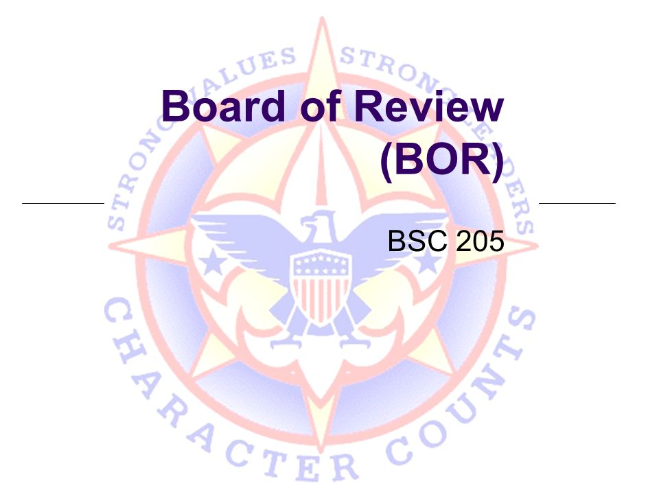 Learning Objectives At the end of this lesson, participants will be able to State the purpose of the board of review and how it is used to further the Boy Scout program Plan a board of review with an eye to the individual Scout Conduct a board of review