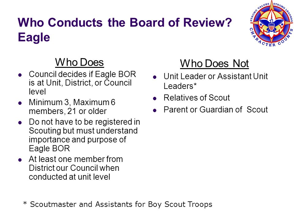 Who Conducts the Board of Review? Eagle Who Does Council decides if Eagle BOR is at Unit, District, or Council level Minimum 3, Maximum 6 members, 21