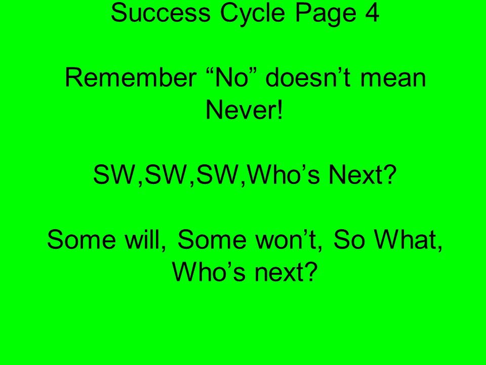 Success Cycle Page 3 Repeat these processes yourself until you have 12+ wide annd teach your team to do the same.