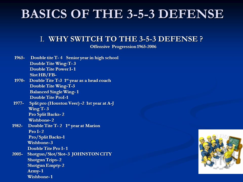 I. WHY SWITCH TO THE 3-5-3 DEFENSE ? Offensive Progression 1965-2006 Offensive Progression 1965-2006 1965- Double tite T- 4 Senior year in high school
