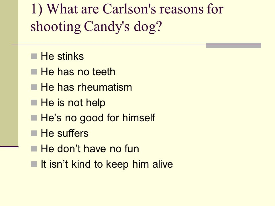 1) What are Carlson's reasons for shooting Candy's dog? He stinks He has no teeth He has rheumatism He is not help Hes no good for himself He suffers