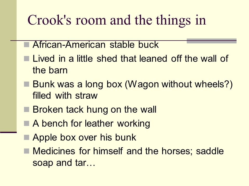 Crook's room and the things in African-American stable buck Lived in a little shed that leaned off the wall of the barn Bunk was a long box (Wagon wit